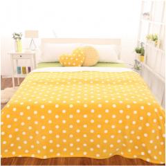 现货隔日达 国产 糖果色波点格纹 毛毯子 1.5*2.0m 蜜柚黄 货号160.GC-Q