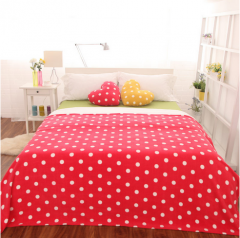 现货隔日达 国产 糖果色波点格纹 毛毯子 1.5*2.0m 樱桃红 货号160.GC-Q