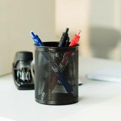 得力 909 笔筒 密集金属网纹圆形 黑色 货号160.QBD